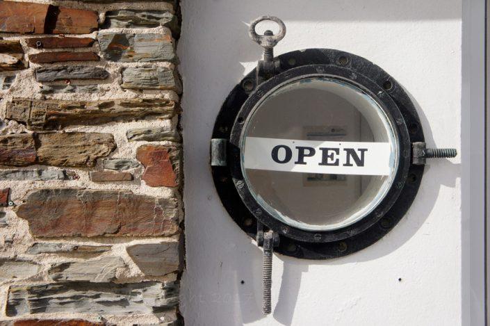 Open sign, beach cafe, Torcross
