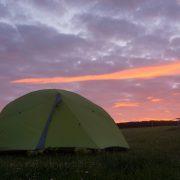 Sunset at Caerfai Bay campsite