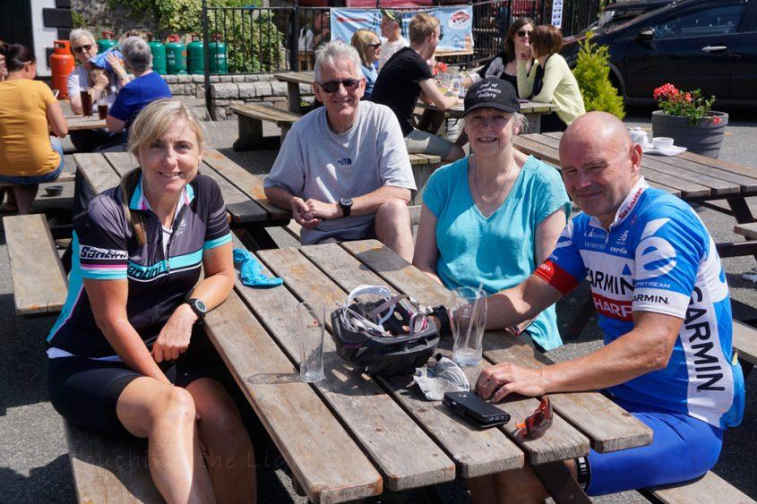 A pint with Linda, John, Marion and Tervor at Caernarfon