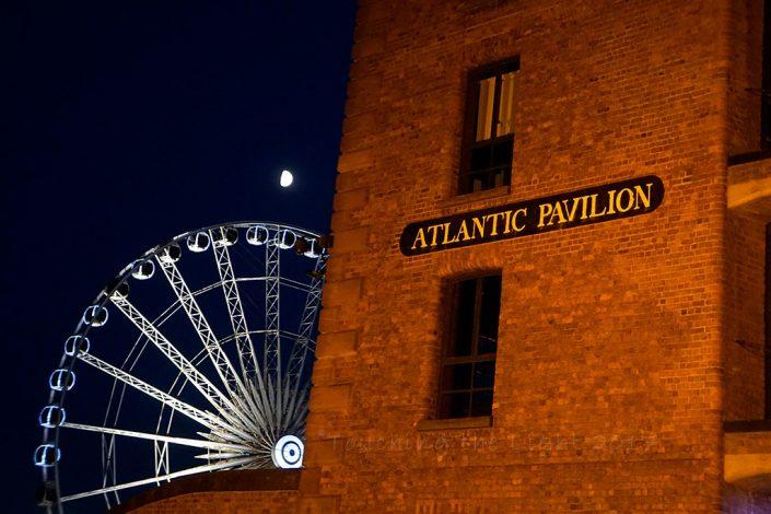 Albert Dock - Atlantic Pavilion and Ferris Wheel at dusk, Liverpool