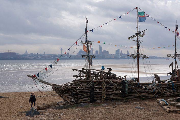 Day 61 - Driftwood galleon sculpture, New Brighton, Wirral