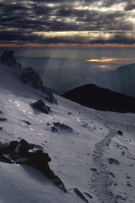 Sunburst, Bwlch Main ridge, Yr Wyddfa, Snowdonia National Park