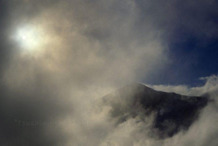 Yr Wyddfa summit in cloud, Snowdonia National Park