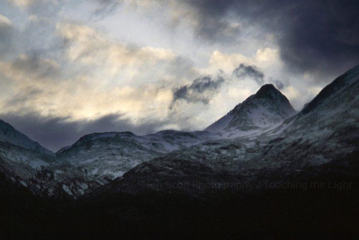 Storm shroud on South Kintail ridge, Scottish Highlands