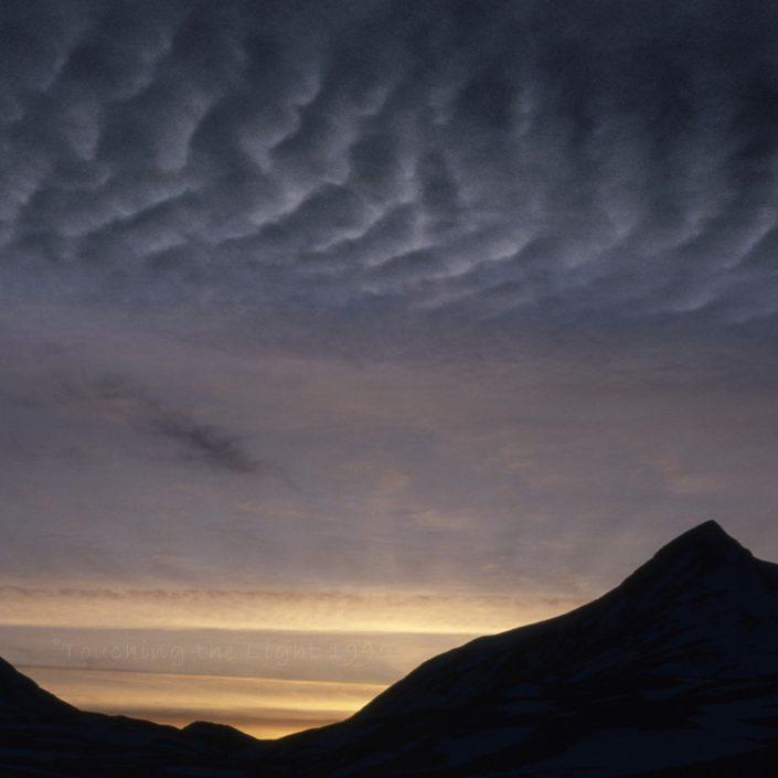 Mackerel sky over Ben Alder and Lancet Edge, Scottish Highlands